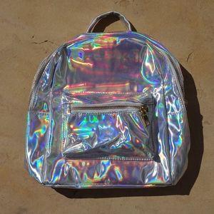 Handbags - Silver Holographic Iridescent Mini Backpack